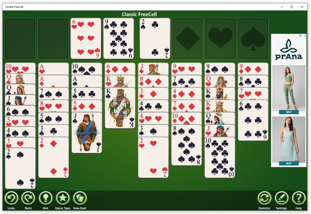 Simple FreeCell game for Window 10 PCs